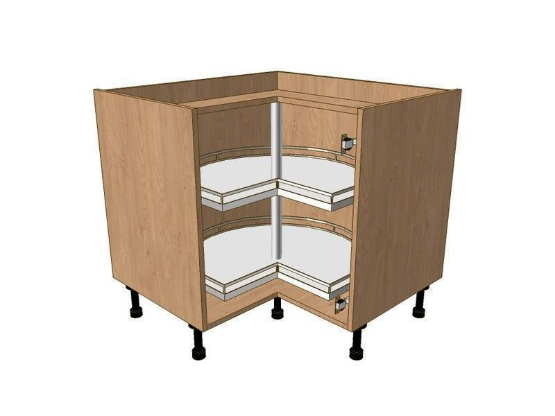Milbourne Almond 980mm*980mm Highline L Shape Cnr Base With 3/4 Carousel Classic