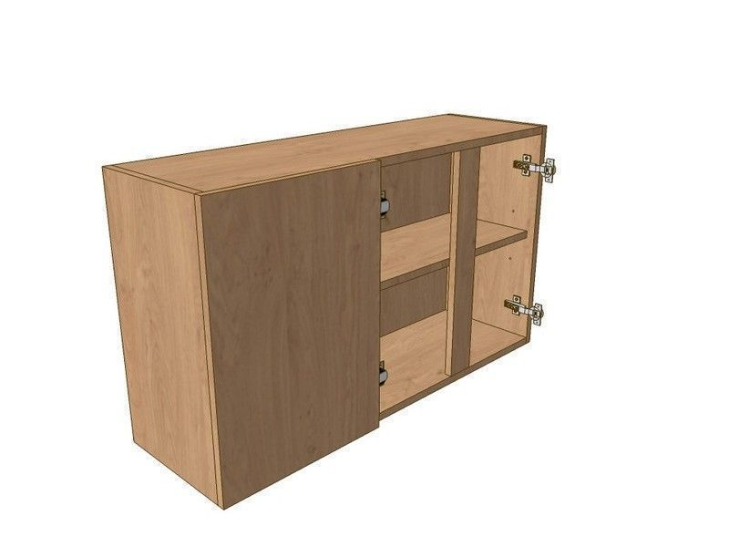 Broadoak Natural 1200mm Corner Wall Unit 2 Door 400mm LH Blank 575mm High