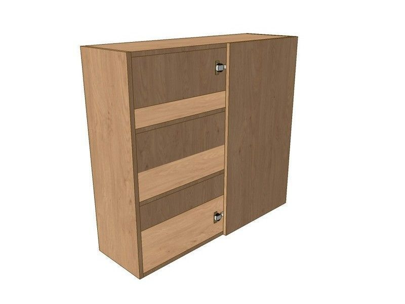 Porter Gloss Cashmere 600mm Corner Wall Unit 300mm RH Blank 900mm High