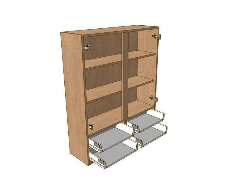 Broadoak Natural 1000mm Dresser Unit 4 Drawer To Suit 720mm Wall Units