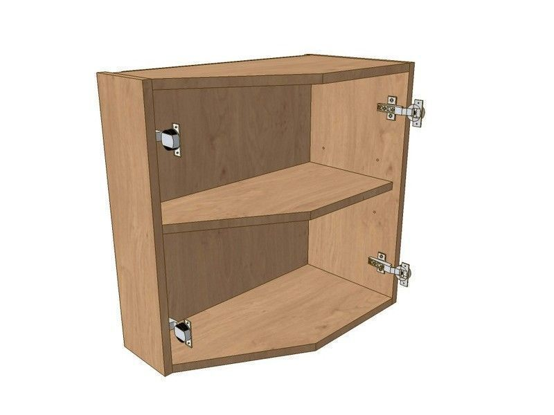 Broadoak Sanded 575mm Extended Angled Wall Unit LH 296 Doors 575mm High