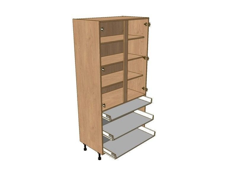 Broadoak Sanded 800mm Larder Unit 1970mm High - 1 Shallow 2 Pan
