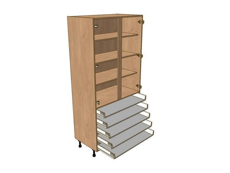 Fitzroy Partridge Grey 800mm Larder Unit 1970mm High - 5 Shallow