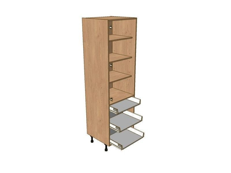 Broadoak Sanded 500mm Larder Unit 1970mm High - 1 Shallow 2 Pan