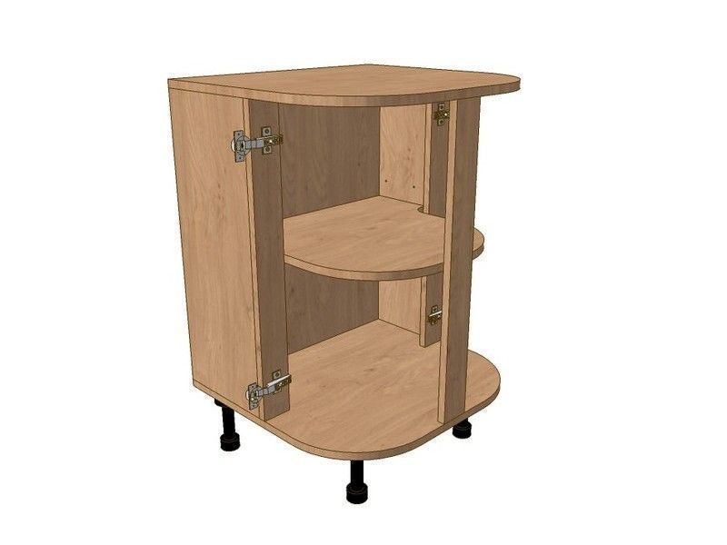 Milbourne Almond 600mm Highline Double Small Curved Base Unit