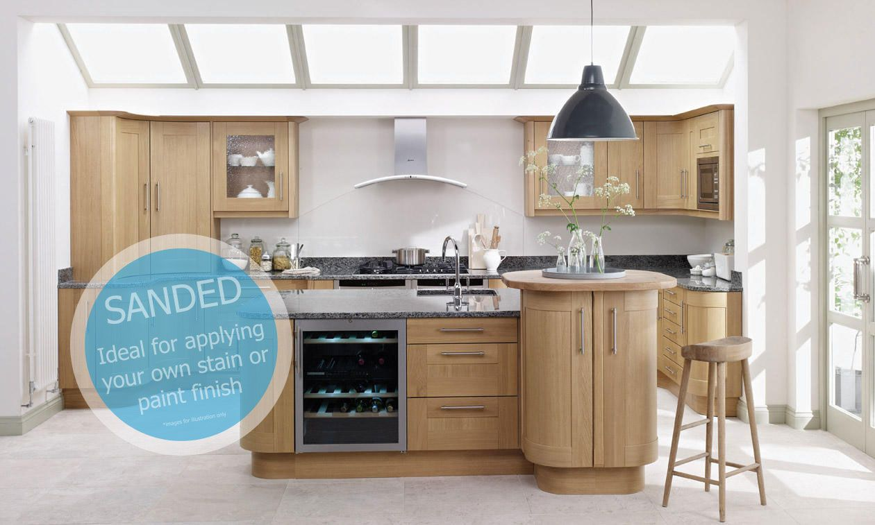 Broadoak Sanded 300mm Pull Out Larder Unit With Style Pull Out 1970mm High | DIY Kitchens 4 U