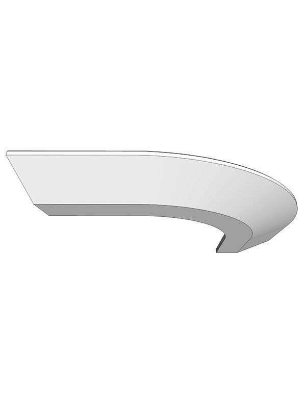 Broadoak Natural Curved cornice section for 300mm wall cabinet