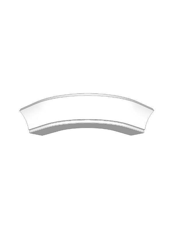 Fitzroy Porcelain Curved cornice for small curved door, 90x345x345mm