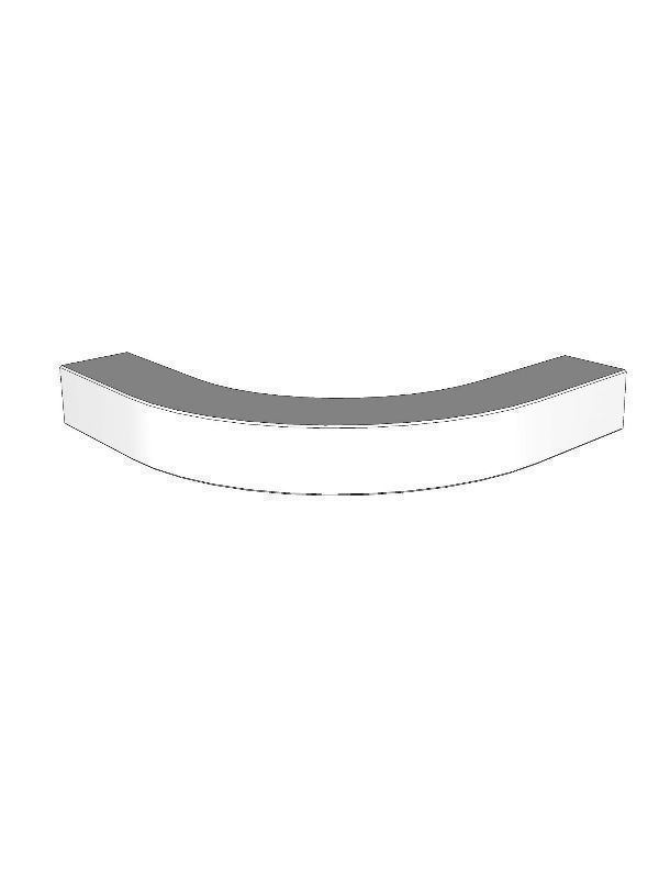 Fitzroy Partridge Grey Curved L-shaped light pelmet for small curved door, 50x345x345mm