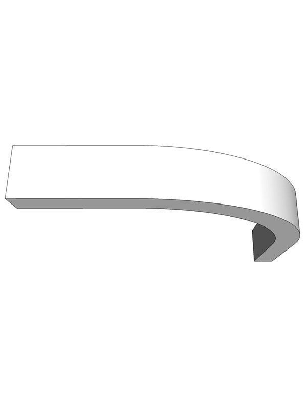 Broadoak Paint To Order Curved light pelmet section for 300mm wall cabinet