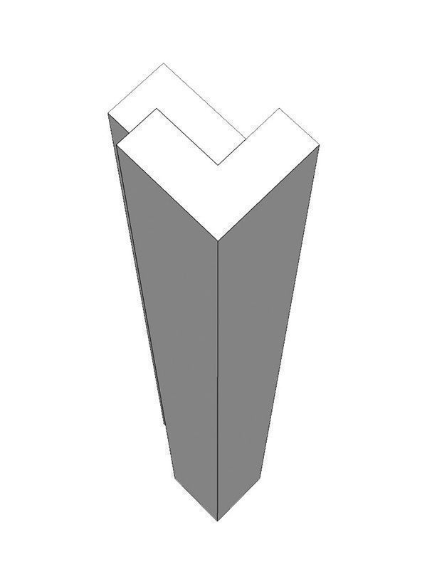 Porter Gloss Dove Grey External corner post, 685x46x46mm