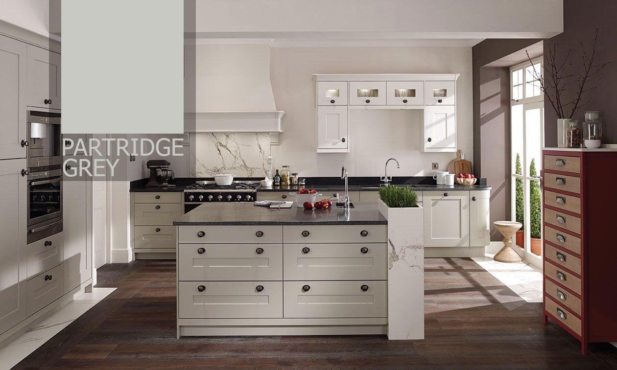 Fitzroy Partridge Grey 765mm Extended Angled Wall Unit RH 396 Doors 575mm High | DIY Kitchens 4 U