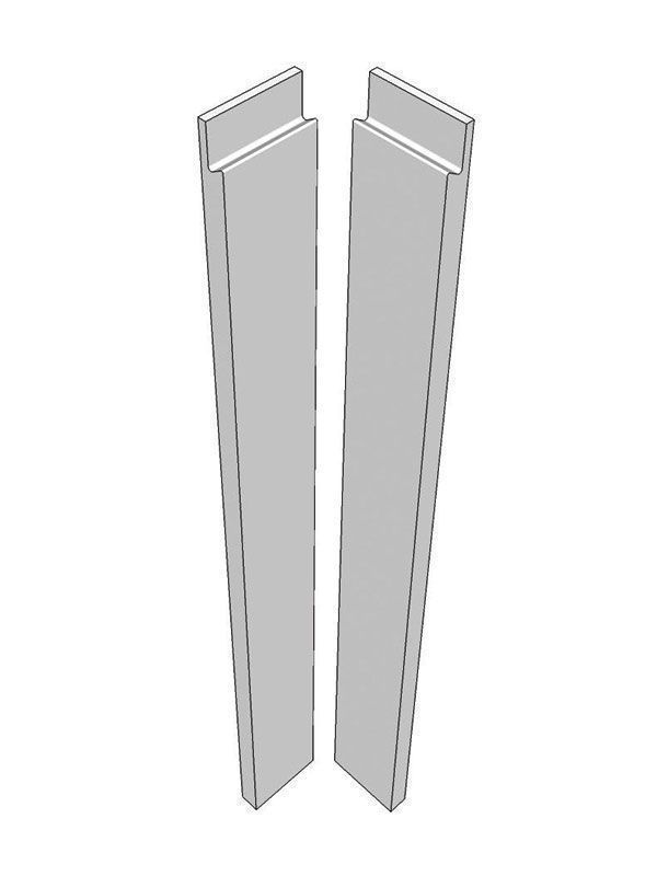 Remo Gloss Dove Grey Corner post, 715x70x22mm - with handle profile