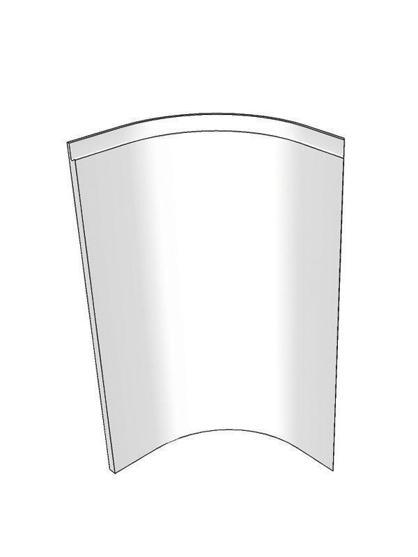 Internal curved base door for 720x900x900mm cabinet, right hand Remo Gloss Dove Grey Feature Door