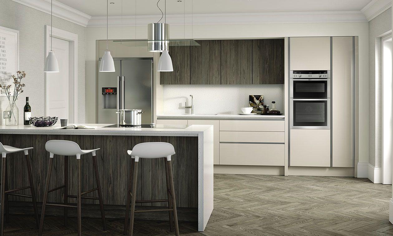 Porter Gloss Cashmere 1000mm Highline Cnr Base With Magic Cnr Arena 500mm LH Blank   DIY Kitchens 4 U