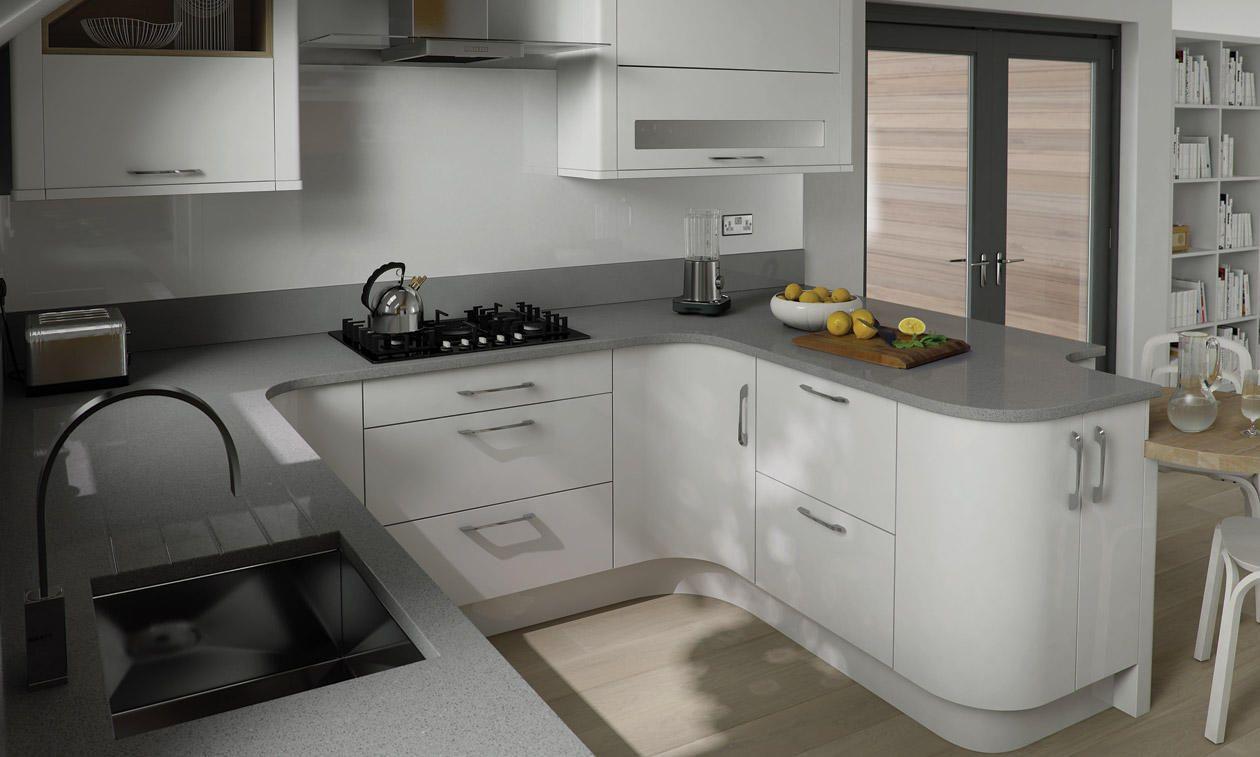 Porter Gloss White 300mm Larder Unit 1970mm High - 2 Pan | DIY Kitchens 4 U