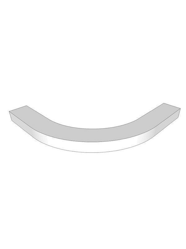 Fitzroy Porcelain Curved modern cornice/light pelmet for small curved door, 28x345x345mm
